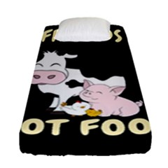 Friends Not Food   Cute Cow, Pig And Chicken Fitted Sheet (single Size) by Valentinaart