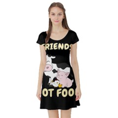 Friends Not Food - Cute Cow, Pig And Chicken Short Sleeve Skater Dress by Valentinaart
