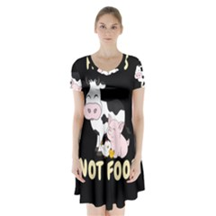 Friends Not Food - Cute Cow, Pig And Chicken Short Sleeve V-neck Flare Dress by Valentinaart