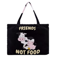 Friends Not Food   Cute Cow, Pig And Chicken Zipper Medium Tote Bag