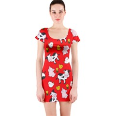 The Farm Pattern Short Sleeve Bodycon Dress