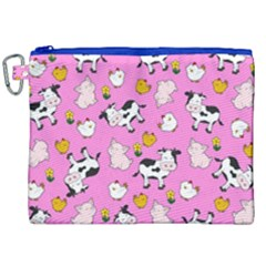 The Farm Pattern Canvas Cosmetic Bag (xxl) by Valentinaart