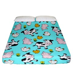 The Farm Pattern Fitted Sheet (california King Size)