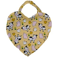 The Farm Pattern Giant Heart Shaped Tote