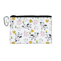 The Farm Pattern Canvas Cosmetic Bag (medium) by Valentinaart