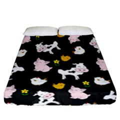 The Farm Pattern Fitted Sheet (queen Size) by Valentinaart