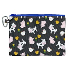 The Farm Pattern Canvas Cosmetic Bag (xl) by Valentinaart
