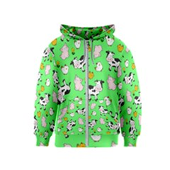 The Farm Pattern Kids  Zipper Hoodie