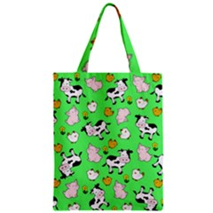 The Farm Pattern Zipper Classic Tote Bag by Valentinaart