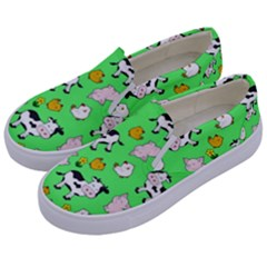 The Farm Pattern Kids  Canvas Slip Ons by Valentinaart