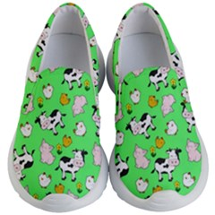The Farm Pattern Kid s Lightweight Slip Ons by Valentinaart