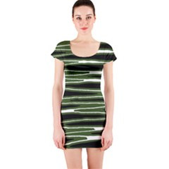 Sketched Wavy Stripes Pattern Short Sleeve Bodycon Dress by dflcprints