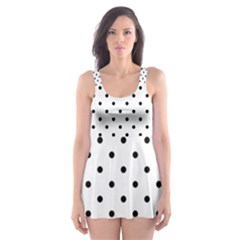 White Polka Dots Skater Dress Swimsuit
