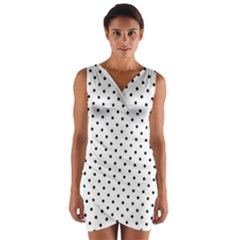 White Polka Dots Wrap Front Bodycon Dress