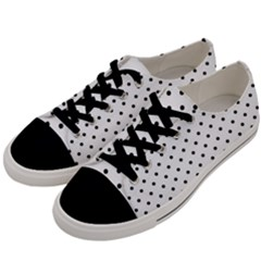 White Polka Dots Men s Low Top Canvas Sneakers by jumpercat