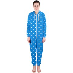 Blue Polka Dots Hooded Jumpsuit (ladies)  by jumpercat