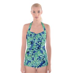 Moonlight On The Leaves Boyleg Halter Swimsuit