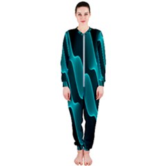 Background Light Glow Blue Green Onepiece Jumpsuit (ladies)