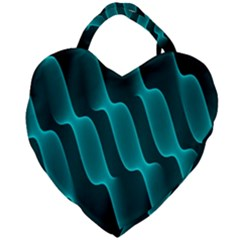 Background Light Glow Blue Green Giant Heart Shaped Tote by Nexatart