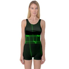 Background Signal Light Glow Green One Piece Boyleg Swimsuit