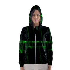 Background Signal Light Glow Green Hooded Wind Breaker (women)