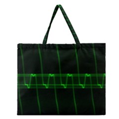Background Signal Light Glow Green Zipper Large Tote Bag