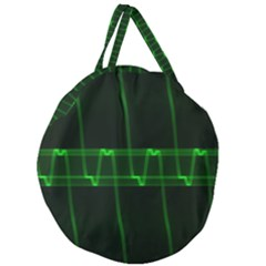 Background Signal Light Glow Green Giant Round Zipper Tote