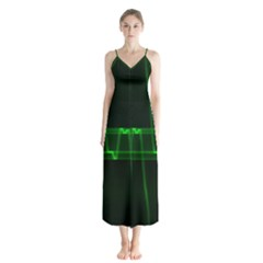 Background Signal Light Glow Green Button Up Chiffon Maxi Dress