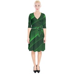 Background Light Glow Green Wrap Up Cocktail Dress
