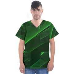 Background Light Glow Green Men s V Neck Scrub Top