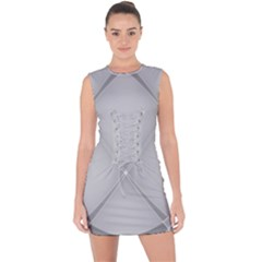 Background Light Glow White Grey Lace Up Front Bodycon Dress