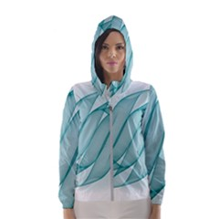 Background Light Glow Blue Hooded Wind Breaker (women)