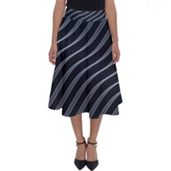 Metal Steel Stripped Creative Perfect Length Midi Skirt