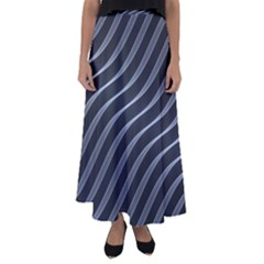 Metal Steel Stripped Creative Flared Maxi Skirt