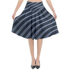 Metal Steel Stripped Creative Flared Midi Skirt