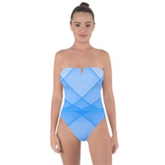Background Light Glow Blue Tie Back One Piece Swimsuit