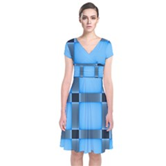 Wall Blue Steel Light Creative Short Sleeve Front Wrap Dress