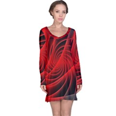 Red Abstract Art Background Digital Long Sleeve Nightdress
