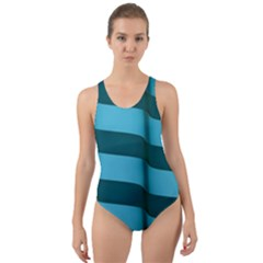 Curtain Stripped Blue Creative Cut Out Back One Piece Swimsuit