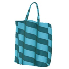 Curtain Stripped Blue Creative Giant Grocery Zipper Tote