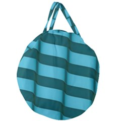 Curtain Stripped Blue Creative Giant Round Zipper Tote