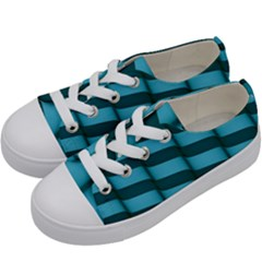 Curtain Stripped Blue Creative Kids  Low Top Canvas Sneakers by Nexatart