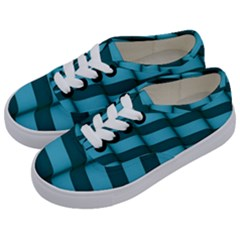 Curtain Stripped Blue Creative Kids  Classic Low Top Sneakers by Nexatart