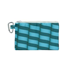 Curtain Stripped Blue Creative Canvas Cosmetic Bag (small) by Nexatart