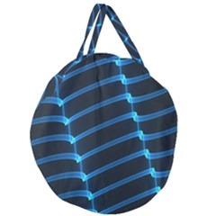 Background Neon Light Glow Blue Giant Round Zipper Tote