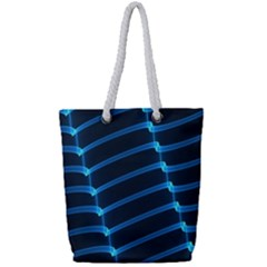 Background Neon Light Glow Blue Full Print Rope Handle Tote (small)
