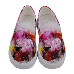 Flowers Roses Wedding Bouquet Art Women s Canvas Slip Ons