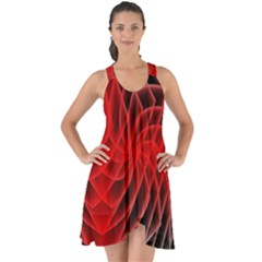 Abstract Red Art Background Digital Show Some Back Chiffon Dress