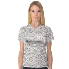 Background Wall Stone Carved White V Neck Sport Mesh Tee