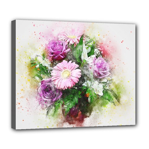Flowers Roses Bouquet Art Nature Deluxe Canvas 24  X 20   by Nexatart